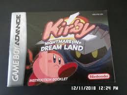 dream land gameboy advance gba manual