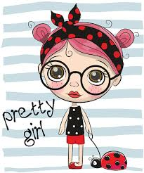 Cute Cartoon Girl With Big Glasses Stock Illustration - Download Image Now  - iStock