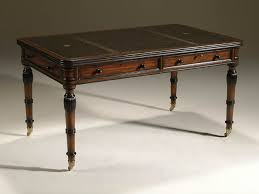 antique office table. Regency Finished Mahogany Writing Table With Inlaid Black Leather Top And Brass Mounts Antique Office