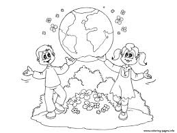 Earth Day Kids Flowers Nature Coloring Pages Printable