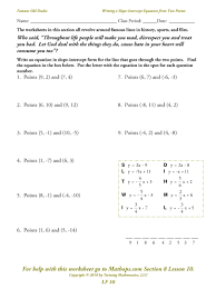 algebra worksheets lf 10 writing a slope intercept equation from two points