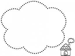 手書き風のお家の白黒点線もこもこフレーム飾り枠イラスト 無料