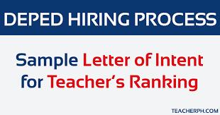 Sample Letter Of Intent For Teachers Ranking Teacherph
