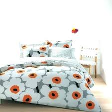 marimekko duvet cover duvet cover duvet bedding big flower motives in white and orange color quilt