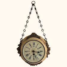 19th century chain hanging wall clock
