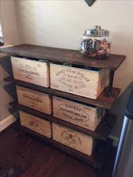 Vintage-Style Industrial Table with Original Wine Box Drawers. The piece  was made by