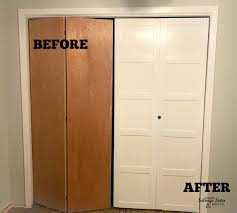 before and after updating bi fold closet doors featured on salvagesisterandmsiter com