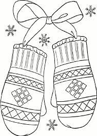 Kleurplaat Handschoenen Winter