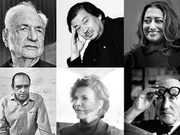 famous architects. Clockwise From Top Left: Frank Gehry, Shigeru Ban, Zaha Hadid, Le Corbusier, Jeanne Gang, And Oscar Niemeyer. Famous Architects F