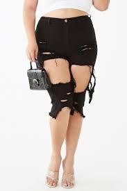 plus size destroyed denim bermuda shorts