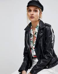 reclaimed vintage revived leather biker jacket clothing coats jackets for women black lnlcanq4