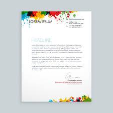 Letterhead Letter Letter With Colorful Ink Splash Letterhead Vector Free Download