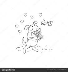 ベクター ブラック ホワイト スケッチ面白い漫画子犬犬文字は花の花束