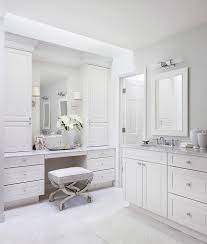 White And Gray Bathroom With Mirrored Vanity Stool Transitional Bathroom