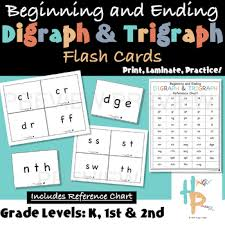 Trigraph Chart Beginning And Ending Digraph Trigraph Flash Cards With Reference Chart