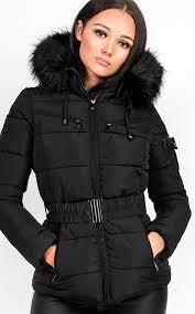 hadid padded faux fur hooded jacket