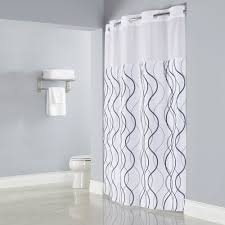 hookless hbh49wav01sl77 white with gray waves shower curtain with matching flat flex on rings it s a snap polyester liner with magnets and poly voile