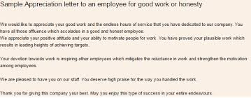Words Of Appreciation For Employee 10 Sample Appreciation Letters Sample Letters Word