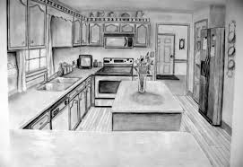 Exellent Kitchen Drawing Perspective 1 Point To Modern Design