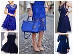 Платья из кружева синего цвета