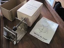 details about vintage braid aid braid klamp table clamp for rug braiding in box made in usa