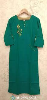 Turquoise Green Slub Cotton Kurti With Embroidery And Potli