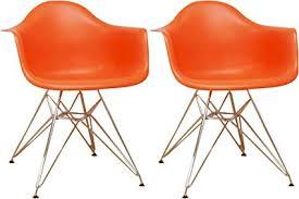 mod made mid century modern paris tower dining arm chair chrome leg orange set