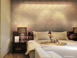 bedroom accent wall with snazzy penny tiles from ceramiche
