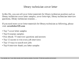 Library Technician Cover Letter Ideas Collection Sample Cover Letter