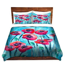 poppies bedding duvet set fl poppies painting nature modern bedding queen size duvet cover king red