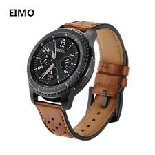 22mm genuine leather strap for samsung gear s3 classic frontier hole style bracelet watch band bracelet wrist replacement belt best watch straps best