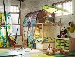 Image Astonishing Brown And Green Jungle Safari Theme Childrens Bedroom With Kura Reversible Bed And Bed Tent Ikea Childrens Bedroom Furniture Ikea