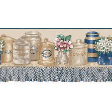 allen roth 10 blue and beige kitchen jars prepasted wallpaper border