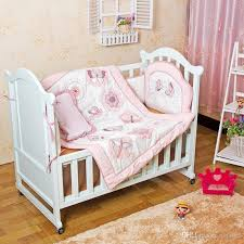 R 4 Item Baby Girls Bedding Set Embroidery Character Crib Pink  Cot Quilt