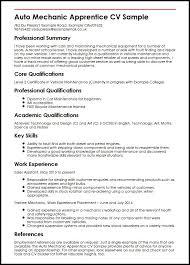 Cv Mechanic Auto Mechanic Apprentice Cv Sample Myperfectcv