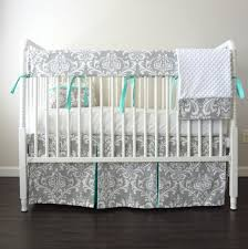 custom crib bedding gray aqua blue damask crib rail bedding