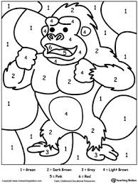 Small Picture Color By Number Gorilla Free coloring Worksheets and Learning