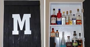 rustic hanging liquor cabinet tutorial