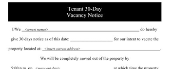 30 day notice to landlord form notice 30 day home