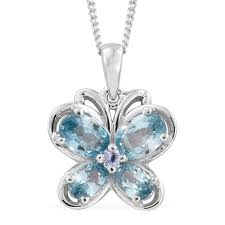 blue zircon tanzanite platinum plated silver erfly pendant with chain 20 in 1 87 cttw com