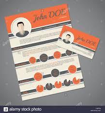 Curriculum Vitae Resume Cv Template Design With Business Card Stock