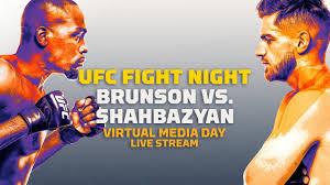 Прямая трансляция 2 мая в 03:00 (мск) на wink. Ufc Fight Night Derek Brunson Vs Edmen Shahbazyan Virtual Media Day Live Stream Mma Fighting Youtube