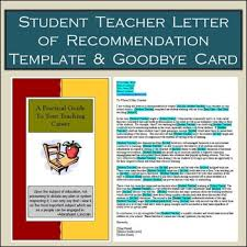 Letters Of Recommendation Templates For Teachers Student Teacher Card Letter Of Recommendation Template Both Editable