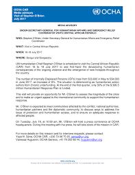 Media Advisory Media Advisory Under Secretary General For Humanitarian Affairs And