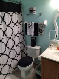 Black, white and blue bathroom.