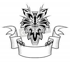 Fototapeta Tetování Ve Stylu Abstraktní Kočka S Kopií Prostor Banner Stužku