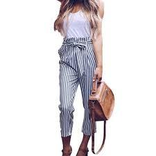 Walmart Womens Size Chart Womens High Waist Paperbag Cigaratte Trousers Striped Summer Casual Long Pants