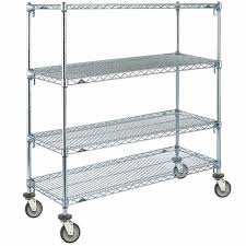 chrome 4 tier mobile shelving unit with polyurethane casters 21 main picture image preview