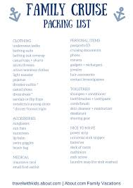 Cruise Packing List Free Printable Packing List For Family Cruise Vacations