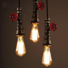 industrial pipe lighting. Vintage Lamp Retro Suspension Luminaire Industrial DIY Pipe Lighting Fixture E27 Holder Water For Restaurant